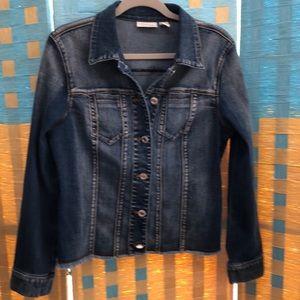 "Chico""s denim jean factory distressed jacket. 1"